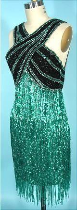 c. 1980's BOB MACKIE Fully Beaded Fringe Dress