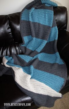 Simple Color Blocked Crochet Blanket Pattern From Rescued Paw