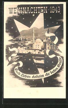 old postcard: Foto-AK Tirana, Kriegsweihnacht 1943, Teilansicht der Stadt, Stern