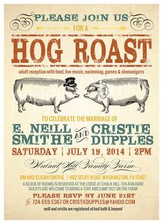 Hog Roast Wedding Invitation for Outdoor by PaperHeartsInvites, $15.00