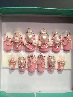 Himegyaru pink glitter nails with bows and roses by KawaiiClaws, $17.99