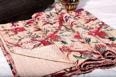 Indian Designer Kantha Quilt, Queen Size from jaipurihandicraft