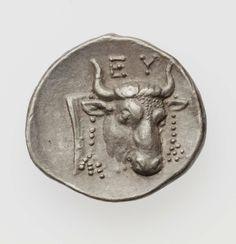 Dracma - argento - Eretria, Grecia (lega Eubea 378-338 a.C.) - EY testa di torello con corone ornamentali vs.dx. - Head and neck of bull, filleted. Greek inscription betweenhorns - Boston