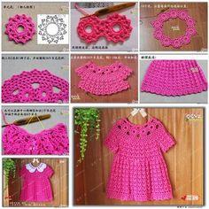 Oi pessoal, boa tarde!!! Achei esta foto no facebook, e achei uma gracinha esta sugestão de modelo de vestido de crochê para meninas....   ...