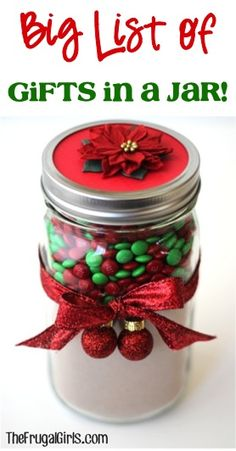 BIG List of Gifts in a Jar from TheFrugalGirls.com