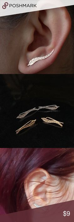 Gold Leaf Earrings Adorable, dainty leaf earrings. It manuvers into your ear and sits perfectly and shows the tail of the leaf. Available in silver and gold. Jewelry Earrings