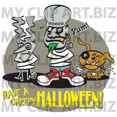 Zombie Halloween Clip Art http://www.myclipart.biz/illustration/15824/bride_of_frankenstein_and_frankenstine_in_straitjackets_with_their_dog_standing_by