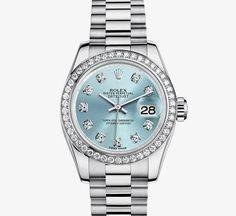 Oyster Perpetual Lady-Datejust, 26mm - Platinum, Diamonds