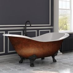 Cast Iron Double Ended Slipper Tub X w/ Deck Mount Faucet Drillings & Oil Rubbed Bronze Feet - Cambridge DES-NH-ORB-CBThis stylish, Cast Iron clawfoot slipper tub has imperial ball and claw feet in an oil rubbed bronze finish. This tub is the p Clawfoot Tub Bathroom, Master Bathroom, Barn Bathroom, Bathroom Plumbing, Bathroom Small, Downstairs Bathroom, Plumbing Fixtures, Bathroom Vanities, Bathroom Interior