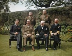 Seated, left to right: Air Chief Marshal Sir Charles Portal; Field Marshal Sir Alan Brooke, the Rt Hon Winston Churchill; Standing, left to right: the Secretary to the Chiefs of Staffs Committee, Major General L C Hollis; Winston Churchill, Victory In Europe Day, Admiral Of The Fleet, Field Marshal, See World, Major General, Chief Of Staff, Boris Johnson, Second World