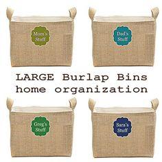 Burlap Storage Bins Large Square Burlap Bins by ColorStyleDesign Laundry Bags, Storage Bins, Decoration, Home Organization, Burlap, Cottage, Etsy, Sweet, Storage Crates