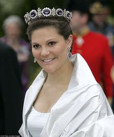blue amethyst tiara trimmed in diamonds. Crown Princess Victoria of Sweden wears the unique blue amethyst tiara at a state function back in 2007.