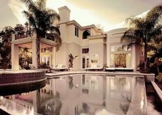 Mansion & palm trees.
