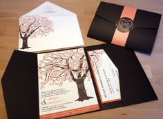 SAMPLE of Fall Oak Tree Pocketfold Wedding Invitations, Rustic and Modern. $3.00, via Etsy.