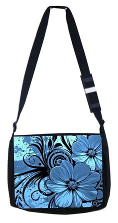 Blue flower Rosie Parker Inc. TM Medium Sized Laptop Messenger Bag 11.75' x 15.5' ** You can get additional details at the image link.