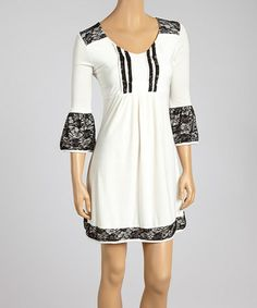 Another great find on #zulily! Black & White Lace Pleated V-Neck Dress #zulilyfinds