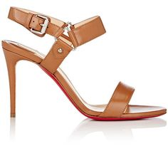"""Christian Louboutin Women's """"Sova Heel"""" Sandals (1,495 BAM) ❤ liked on Polyvore featuring shoes, sandals, heels, high heels, louboutin, brown, open toe sandals, christian louboutin shoes, brown high heel sandals and ankle strap heel sandals"""