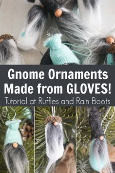 These adorable gnome ornaments are made from t he fingers of gloves! How amazing is this Christmas ornament craft - it is definitely fun and unique. Click through to make the cutest gnome ornaments for the holidays. Gnome Ornaments, Christmas Ornament Crafts, Large Christmas Baubles, Christmas Gnome, Christmas Projects, Holiday Crafts, Beaded Ornaments, Holiday Ornaments, Glass Ornaments