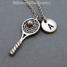 Tennis Racket necklace, tennis racquet, sports charm, initial necklace, personalized, antique silver, monogram