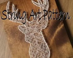 Deer Head String Art Template Pattern Crafting Design | Etsy String Art Templates, String Art Tutorials, String Art Patterns, Anchor String Art, String Art Heart, Deer Pattern, Pattern Art, Elephant Template, Diy Projects For Adults