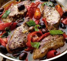 Garlic lamb with peppers & couscous. Quick, impressive and bursting with Mediterranean flavour.