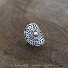 BOHO, Gypsy ring, Hippie ring, Bohemian style, Statement ring R065-JewelryBOHO - Handmade sterling silver BOHO Tribal printed ring