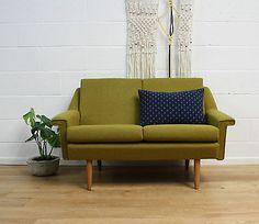Midcentury Danish Refurbished Vintage Two Seater Sofa 60s Bute Fabric