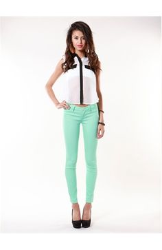 Coated Pastel Skinny Jean #PBperfectsaturday with @Caitlin Burton Flemming  and @Jessica Grinsteinner Barley