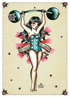 No Pain No Gain by Susana Alonso Pin-Up Boxer Girl Canvas Art Print - Pin-up girls can be strong and sexy. Title: No Pain No Gain Artist: Susana AlonsoMade-to-order gicl - Pin Up Tattoos, Body Art Tattoos, New Tattoos, Girl Tattoos, Retro Tattoos, Rockabilly Tattoo Designs, Rockabilly Tattoos, Girl Power Tattoo, Movie Tattoos