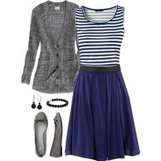 """""""Pretty but Simple Blue and Grey"""" ~~i would love to have this outfit :)"""