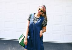 Layered denim dress, pinafore, free people denim dress, vinatge look, Summer styler, Early Fall layers