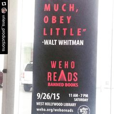 Reposted from @vriens_productions with @repostapp. Thanks for the shout out!  @wehoarts @wehoreads what a great initiative! Highly recommended a visit to the west hollywood library for anyone who enjoys beautiful large public spaces. #eventplanning #weho #waltwhitman #bannedbooks #alternativeeventspaces #LA #laevents