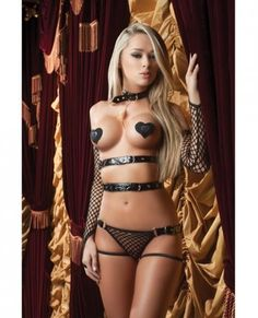 X-Rated Vinyl Teddy and Feather and Gloves and Pasties Blk O/S