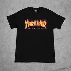 Thrasher Flame Logo T-Shirt Black - 7691