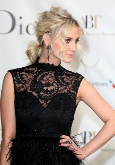 Love the messy updo, dress, and smoky eye.