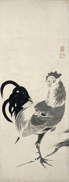 Ito jakuchu(伊藤 若冲) , Burke Collection | Roosters and Hens