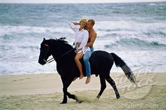 romantic lovers riding horses on beach