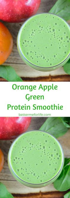 Sweet and tart combine deliciously in this refreshing orange apple green protein smoothie. Except for the color, you'd never guess there was a vegetable in it. Find the recipe on BetterMeforLife.com | green protein smoothie recipes | healthy green protein smoothies | green protein smoothies for weight loss | green protein smoothie recipes weight loss | green protein smoothie recipes diet #greenproteinsmoothies #greenproteinsmoothierecipes #greenproteinsmoothie #green_protein_smoothie