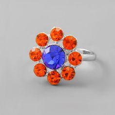 Daisy Ring-ORANGE & BLUE Crystals-Denver Broncos Adjustable Band to Fit