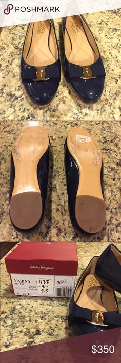Salvatore Ferragamo Navy Patent Flats Purchased in January 2016 by my mother from Saks. My mother passed in June and I am a size 6.5 so I cannot wear. She wore them maybe 2 times. Comes with original box. Feel free to make an offer! Salvatore Ferragamo Shoes Flats & Loafers