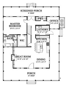 remove office and two-pc move laundry to stairs using the rest a pantry. - Smart House - Ideas of Smart House - remove office and two-pc move laundry to stairs using the rest a pantry. Cottage House Plans, Tiny House Plans, Cottage Homes, Small House Plans Under 1000 Sq Ft, 1 Bedroom House Plans, Small Floor Plans, Coastal Cottage, The Plan, How To Plan