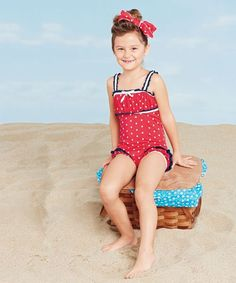 girls vintage red dots swimsuit & headband
