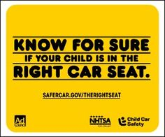 KNOW FOR SURE IF YOUR CHILD IS IN THE RIGHT CAR SEAT.のバナーデザイン