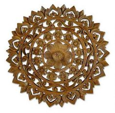 Teak relief panel, 'Radiant Flowers' by NOVICA