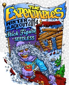 """The reggae/punk band, The Expendables, have announced the """"Winter Blackout Tour"""" with Stick Figure and Seedless. Tour Posters, Band Posters, Dream Concert, The Expendables, Lollapalooza, Band Logos, Stick Figures, Concert Posters, Great Bands"""