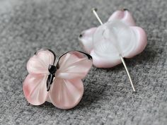 Handmade Lampwork Butterfly Set of 2 by JewelryBeadsByKatie #Lampwork #Beads #Beadsupplies