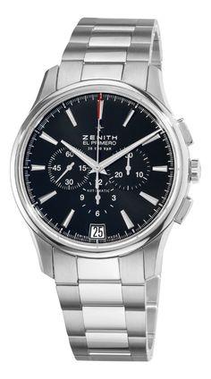 Men watches : Zenith Men's 03.2110.400/21.M2110 El Primero Captain Black Chronograph Dial Watch