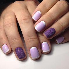 Fashion liliac nails, Festive violet nails, July nails, Light purple nails, Pale liliac nails, Pale purple nails, Purple nails, Purple nails with sparkles