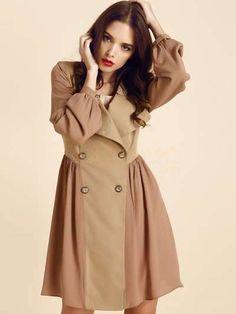 Khaki Jewel Neck Double Breasted Synthetic Woman's Coat - Women's Coats - Outerwear - Women's Clothing