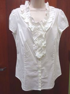 Ann Taylor Loft Shirt White Button Down With Ruffle Front Women's Size 8 NWT #AnnTaylorLOFT #ButtonDownShirt